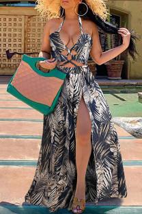 Blue Fashion Print Split Joint Halter Swagger Dresses