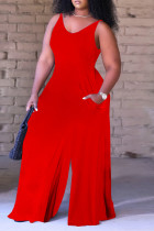 Red Sexy Casual Solid Backless V Neck Regular Sleeveless Jumpsuits