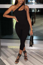 Black Fashion Sexy Solid Backless Oblique Collar Skinny Jumpsuits
