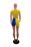 Yellow Sportswear Solid Split Joint O Neck Short Sleeve Two Pieces