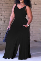 Black Sexy Casual Solid Backless V Neck Regular Sleeveless Jumpsuits