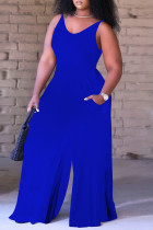 Royal Blue Sexy Casual Solid Backless V Neck Regular Sleeveless Jumpsuits