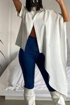 White Fashion Casual Solid Asymmetrical Turndown Collar Tops