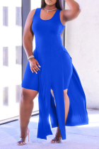 Royal Blue Sexy Solid High Opening U Neck Sleeveless Two Pieces