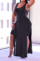 Black Sexy Solid High Opening U Neck Sleeveless Two Pieces