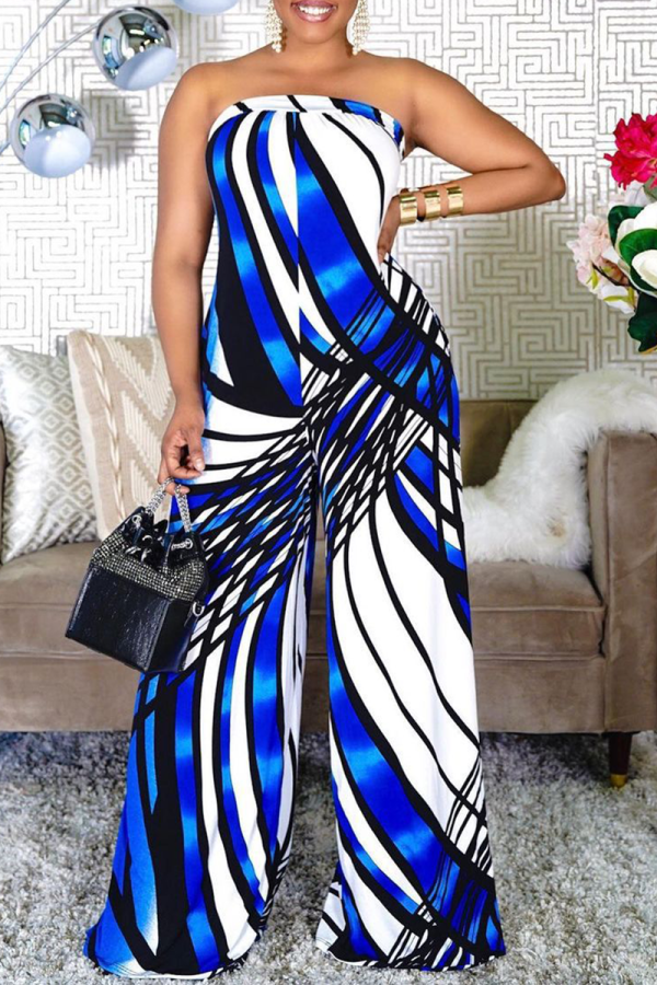 Blue Sexy Print Split Joint Strapless Straight Jumpsuits