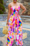 Pink Sexy Print Split Joint Strapless Straight Jumpsuits