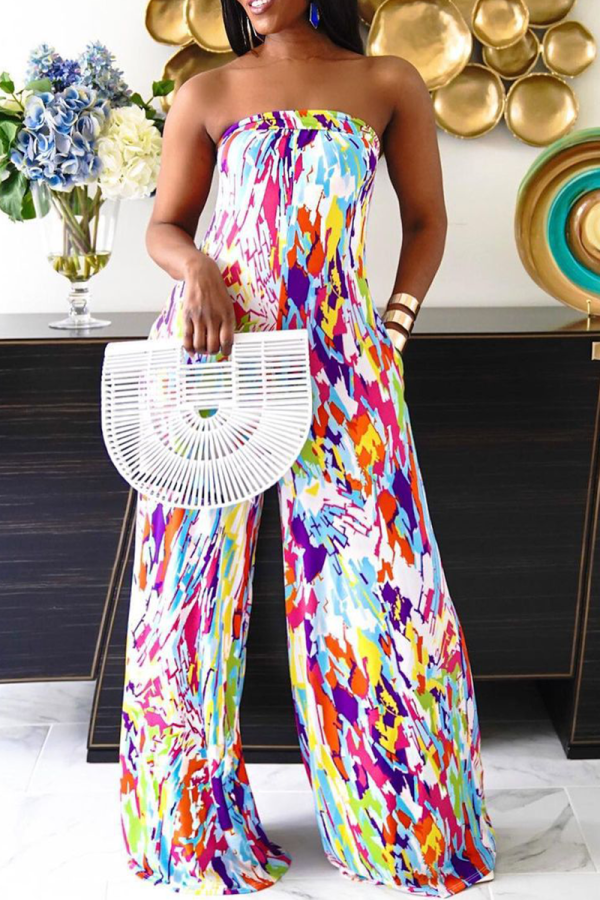 Colour Sexy Print Split Joint Strapless Straight Jumpsuits