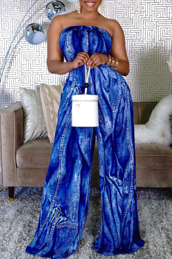 The cowboy blue Sexy Print Split Joint Strapless Straight Jumpsuits