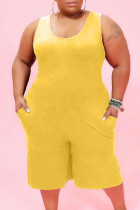 Yellow Casual Solid Pocket O Neck Plus Size Jumpsuits