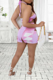Multicolor Fashion Sexy Print Backless Halter Sleeveless Two Pieces