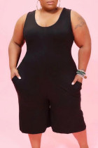 Black Casual Solid Pocket O Neck Plus Size Jumpsuits