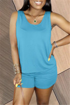 Light Blue Fashion Casual Solid Basic U Neck Sleeveless Two Pieces