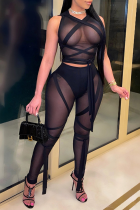 Black Sexy Solid Bandage Mesh V Neck Sleeveless Two Pieces