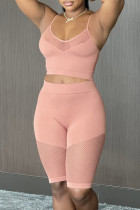 Pink Fashion Sexy Solid Split Joint See-through Spaghetti Strap Sleeveless Two Pieces