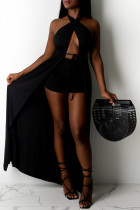 Black Fashion Sexy Solid Backless Halter Sleeveless Two Pieces