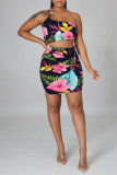 Black Sexy Casual Print Backless One Shoulder Sleeveless Two Pieces