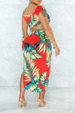 Red Fashion Sexy Print Asymmetrical V Neck Short Sleeve Two Pieces