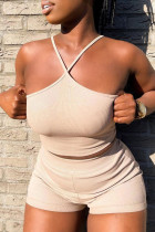 Apricot Sexy Casual Solid Backless Spaghetti Strap Sleeveless Two Pieces