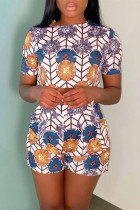 Multicolor Fashion Casual Print Basic O Neck Short Sleeve Two Pieces
