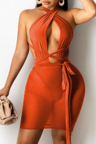 Tangerine Red Sexy Solid Split Joint Asymmetrical Mesh Wrapped Skirt Dresses