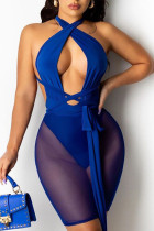 Blue Sexy Solid Split Joint Asymmetrical Mesh Wrapped Skirt Dresses
