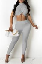 Grey Fashion Casual Solid Asymmetrical Half A Turtleneck Short Sleeve Two Pieces