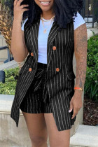 Black Fashion Casual Striped Print Cardigan Sleeveless Two Pieces