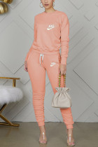 Orange Casual Letter Embroidery Basic O Neck Long Sleeve Two Pieces