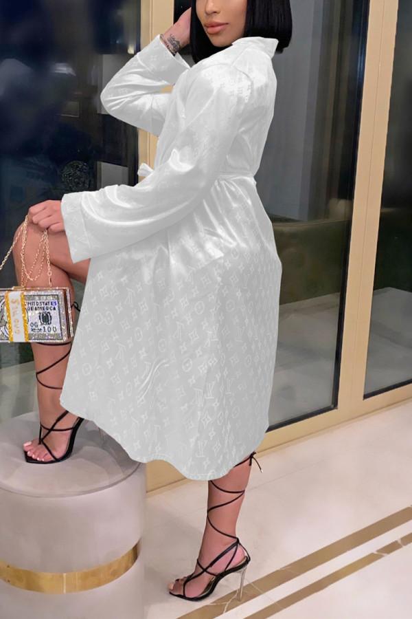 White Fashion Sexy Print Nightdress