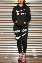 Black Sportswear Letter Patchwork Embroidered Hooded Collar Long Sleeve Two Pieces