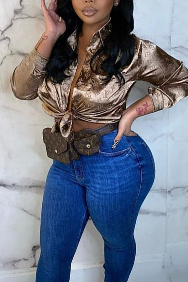 Gold Sexy Casual Print Cardigan Turndown Collar Tops