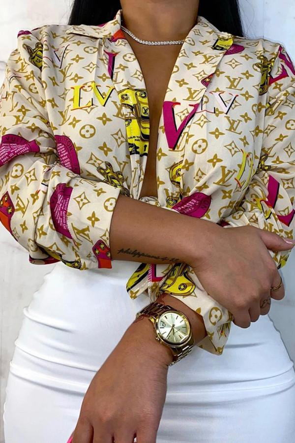 Apricot Fashion Casual Print Basic V Neck Tops