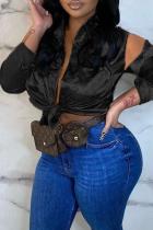 Black Sexy Solid Bandage Split Joint V Neck Tops