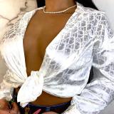 Light Pink Sexy Casual Print Cardigan Turndown Collar Tops
