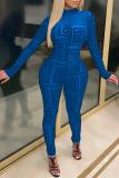 Blue Casual Print Split Joint Half A Turtleneck Skinny Jumpsuits
