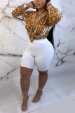 Black Fashion Casual Print Basic V Neck Tops