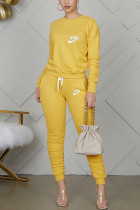 Yellow Casual Letter Embroidery Basic O Neck Long Sleeve Two Pieces