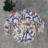 Colour Fashion Casual Print Basic Turndown Collar Tops