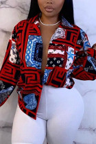Red Blue Fashion Casual Print Basic V Neck Tops