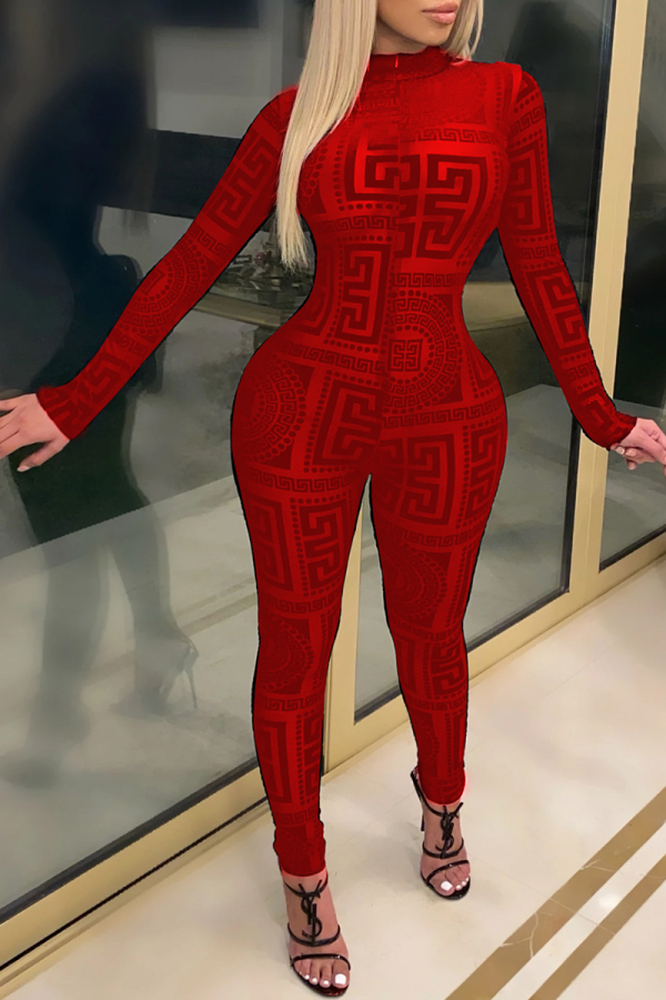 Red Casual Print Split Joint Half A Turtleneck Skinny Jumpsuits