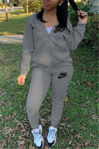 Grey Fashion Casual Letter Embroidery Basic Zipper Collar Long Sleeve Two Pieces