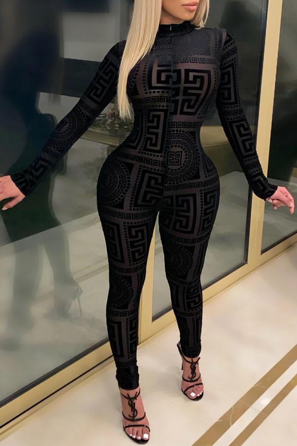 Black Casual Print Split Joint Half A Turtleneck Skinny Jumpsuits