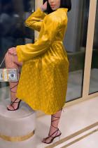 Golden Yellow Fashion Sexy Print Nightdress
