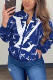 Blue Casual Print O Neck Outerwear