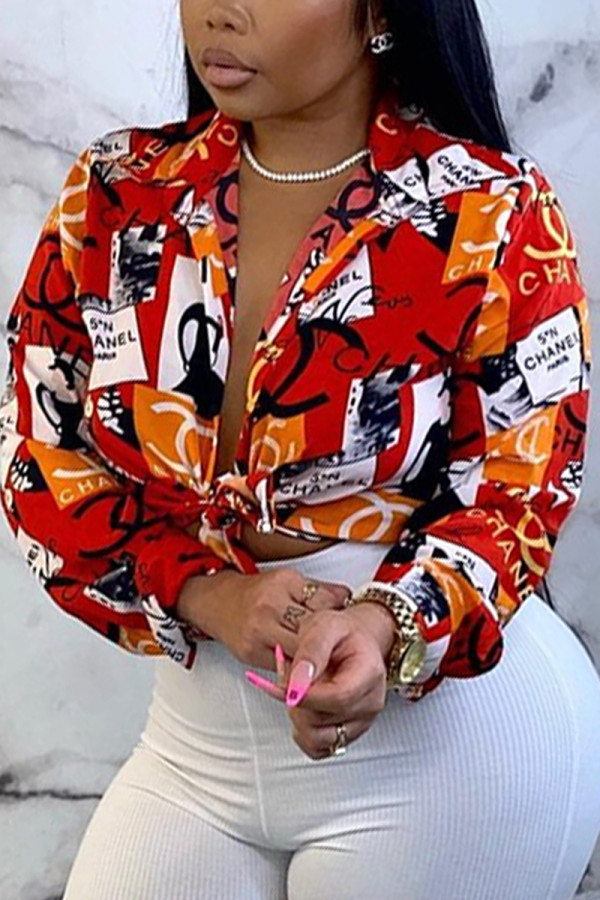 Red Orange Fashion Casual Print Basic V Neck Tops