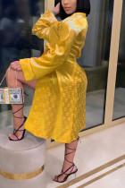 Yellow Fashion Sexy Print Nightdress