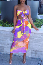 Purple Fashion Sexy Print Backless Strapless Sleeveless Two Pieces