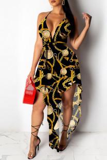 Black Sexy Print Asymmetrical Spaghetti Strap A Line Dresses