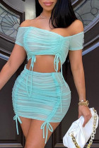 Sky Blue Fashion Sexy Solid See-through Backless Off the Shoulder Sleeveless Two Pieces